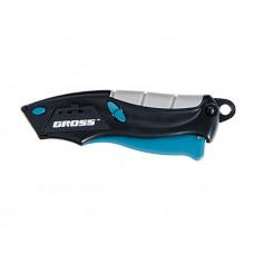Нож 100мм Gross 78873 ремонтно-монтажный МИНИ, трехкомпонентная рукоятка, автовыброс/возврат лезвия, 2 запасных лезвия