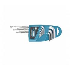 Набор ключей имбусовых Gross 16403 HEX, 1,5x10 мм (S2, 9 шт., удлиненные с шаром, сатинированные )