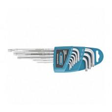 Набор ключей имбусовых Gross 16408 TORX-TT (9 шт:T10-T50, экстра-длин.,S2, сатинированные)